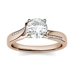 1.13 CTW DEW Round Forever One Moissanite Solitaire with Side Accents Engagement Ring 14K Rose Gold