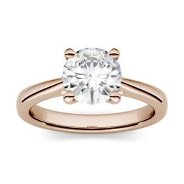 1.50 CTW DEW Round Forever One Moissanite Four Prong Solitaire Engagement Ring 14K Rose Gold