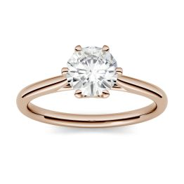 2.70 CTW DEW Round Forever One Moissanite Six Prong Solitaire Engagement Ring 14K Rose Gold