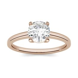 1.00 CTW DEW Round Forever One Moissanite Four Prong Solitaire Engagement Ring 14K Rose Gold