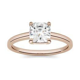 0.60 CTW DEW Cushion Forever One Moissanite Four Prong Solitaire Engagement Ring 14K Rose Gold