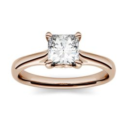 0.90 CTW DEW Square Forever One Moissanite Four Prong Solitaire Ring 14K Rose Gold