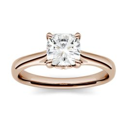 1.10 CTW DEW Cushion Forever One Moissanite Solitaire Vine Engagement Ring 14K Rose Gold