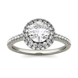 1.52 CTW DEW Round Forever One Moissanite Double Halo with Side Accents Engagement Ring 14K White Gold