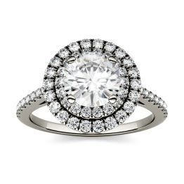 1.27 CTW DEW Round Forever One Moissanite Halo with Side Accents Ring 14K White Gold