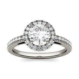 1.40 CTW DEW Round Forever One Moissanite Halo Engagement Ring 14K White Gold