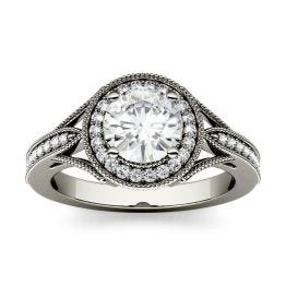 1.23 CTW DEW Round Forever One Moissanite Milgrain Halo with Side Accents Engagement Ring 14K White Gold