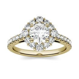 1.37 CTW DEW Round Forever One Moissanite Halo with Side Accents Engagement Ring 14K Yellow Gold