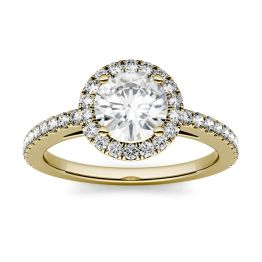 1.40 CTW DEW Round Forever One Moissanite Halo Engagement Ring 14K Yellow Gold