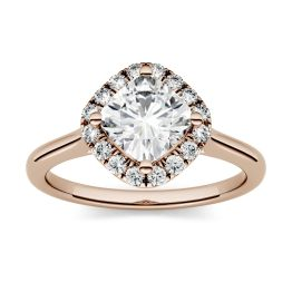 0.96 CTW DEW Cushion Forever One Moissanite Halo Engagement Ring 14K Rose Gold, SIZE 9.0