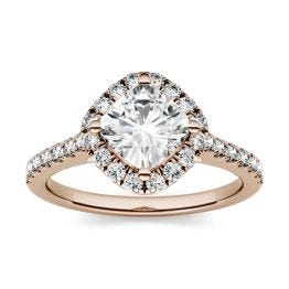 1.10 CTW DEW Cushion Forever One Moissanite Halo with Side Accents Engagement Ring 14K Rose Gold