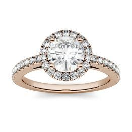 1.40 CTW DEW Round Forever One Moissanite Halo Engagement Ring 14K Rose Gold
