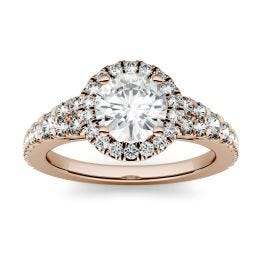 1.66 CTW DEW Round Forever One Moissanite Halo with Side Accents Engagement Ring 14K Rose Gold