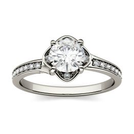 0.59 CTW DEW Round Forever One Moissanite Floral Solitaire with Side Accents Engagement Ring 14K White Gold