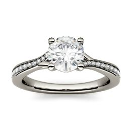 1.13 CTW DEW Round Forever One Moissanite Solitaire with Side Accents Engagement Ring 14K White Gold