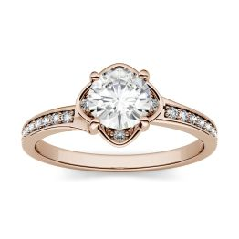 0.59 CTW DEW Round Forever One Moissanite Floral Solitaire with Side Accents Engagement Ring 14K Rose Gold