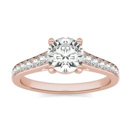 1.38 CTW DEW Round Forever One Moissanite Solitaire with Side Accents Engagement Ring 14K Rose Gold