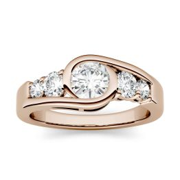 1.12 CTW DEW Round Forever One Moissanite Swirl Solitaire with Side Accents Engagement Ring 14K Rose Gold