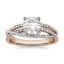1.28 CTW DEW Round Forever One Moissanite Crossover Solitaire Engagement Ring 14K Rose Gold