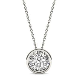 1.50 CTW DEW Round Forever One Moissanite Bezel Set Solitaire Pendant Necklace 14K White Gold