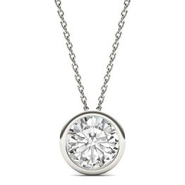 1.90 CTW DEW Round Forever One Moissanite Bezel Set Solitaire Pendant Necklace 14K White Gold
