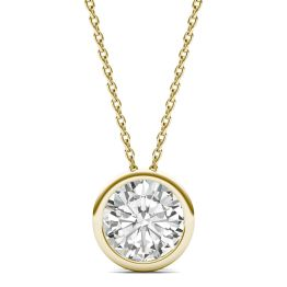 1.90 CTW DEW Round Forever One Moissanite Bezel Set Solitaire Pendant Necklace 14K Yellow Gold