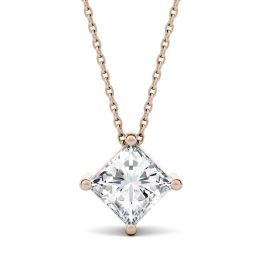 1.70 CTW DEW Square Forever One Moissanite Solitaire Pendant Necklace 14K Rose Gold