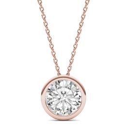 1.90 CTW DEW Round Forever One Moissanite Bezel Set Solitaire Pendant Necklace 14K Rose Gold