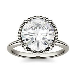 0.60 CTW DEW Round Forever One Moissanite Beaded Solitaire Engagement Ring 14K White Gold