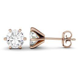 1.00 CTW DEW Round Forever One Moissanite Six Prong Stud Earrings 14K Rose Gold
