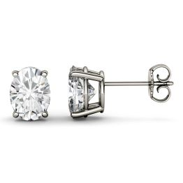 4.20 CTW DEW Oval Forever One Moissanite Four Prong Solitaire Stud Earrings 14K White Gold