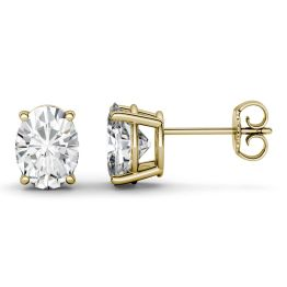 1.80 CTW DEW Oval Forever One Moissanite Four Prong Solitaire Stud Earrings 14K Yellow Gold