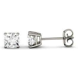 1.00 CTW DEW Cushion Forever One Moissanite Four Prong Solitaire Stud Earrings 14K White Gold