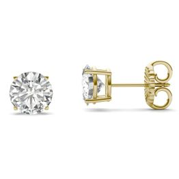 3.80 CTW DEW Round Forever One Moissanite Four Prong Solitaire Stud Earrings 14K Yellow Gold