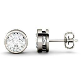 2.00 CTW DEW Round Forever One Moissanite Bezel Set Solitaire Stud Earrings 14K White Gold