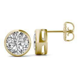 3.80 CTW DEW Round Forever One Moissanite Bezel Set Solitaire Stud Earrings 14K Yellow Gold