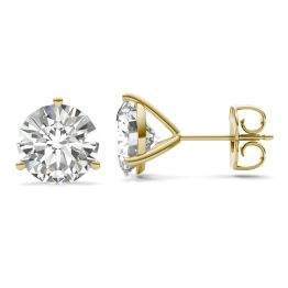 3.80 CTW DEW Round Forever One Moissanite Three Prong Martini Solitaire Stud Earrings 14K Yellow Gold