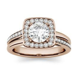 1.27 CTW DEW Round Forever One Moissanite Channel Set Halo with Side Accents Engagement Ring 14K Rose Gold