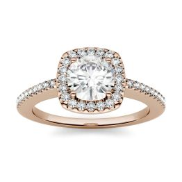 1.24 CTW DEW Round Forever One Moissanite Halo with Side Accents Engagement Ring 14K Rose Gold