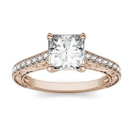1.14 CTW DEW Square Forever One Moissanite Side Stone with Scrollwork Ring 14K Rose Gold