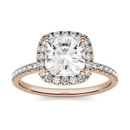 1.60 CTW DEW Cushion Forever One Moissanite Halo with Side Accents Engagement Ring 14K Rose Gold