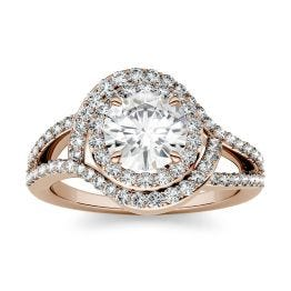 1.76 CTW DEW Round Forever One Moissanite Split Shank Wrapped Halo Engagement Ring 14K Rose Gold, SIZE 5.0