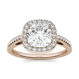 1.37 CTW DEW Cushion Forever One Moissanite Halo with Side Accents Engagement Ring 14K Rose Gold