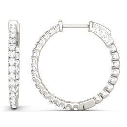 1.00 CTW DEW Round Forever One Moissanite Hoop Earrings 14K White Gold