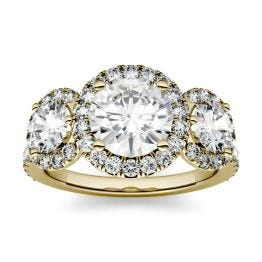 3.09 CTW DEW Round Forever One Moissanite Three Stone Halo Ring 14K Yellow Gold