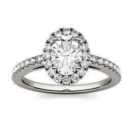 1.28 CTW DEW Oval Forever One Moissanite Halo with Side Accents Engagement Ring 14K White Gold