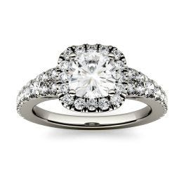 1.74 CTW DEW Cushion Forever One Moissanite Halo with Side Accents Engagement Ring 14K White Gold