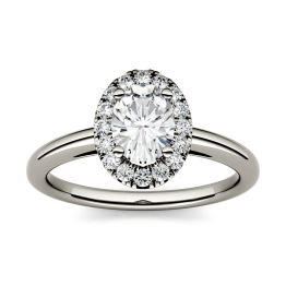 1.06 CTW DEW Oval Forever One Moissanite Halo Engagement Ring 14K White Gold