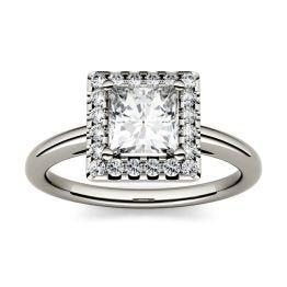 1.20 CTW DEW Square Forever One Moissanite Halo Engagement Ring 14K White Gold