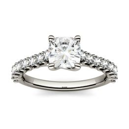 1.58 CTW DEW Cushion Forever One Moissanite Solitaire with Side Accents Engagement Ring 14K White Gold